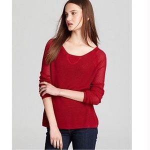 Rag & Bone Knit Waffle Raglan Red Sweater
